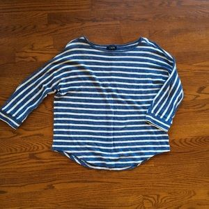 Chaps 3/4 Sleeve Striped Sweater